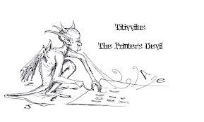 Illustration of The Printer's Devil, Titivillus, by Jenny Mathews, of The Rockford Illustrating Company.